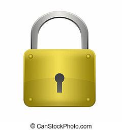 Illustration locked golden lock on a white background.