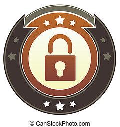 Lock imperial button - Lock or security icon on round red...