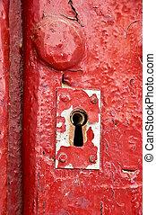 lock in a red door