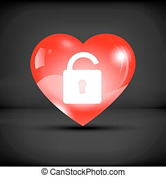 Lock in a red heart icon