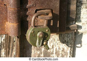 lock in front of a door