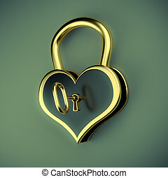 Lock in the form of a heart with key