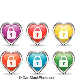 lock in the heart icon set