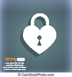 Lock in the shape of heart icon. On the blue-green abstract background with shadow and space for your text. Vector
