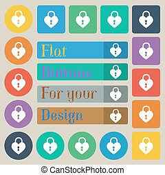 Lock in the shape of heart icon sign. Set of twenty colored flat, round, square and rectangular buttons. Vector