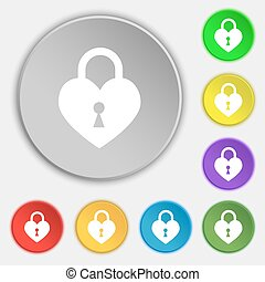 Lock in the shape of heart icon sign. Symbol on eight flat buttons. Vector