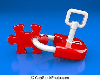lock, key and puzzle piece on a dark blue background