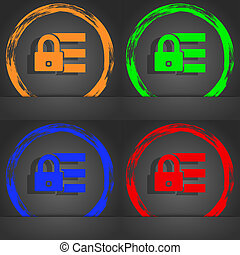 Lock, login icon sign. Fashionable modern style. In the orange, green, blue, red design.