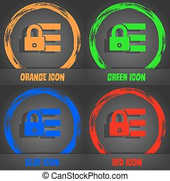 Lock, login icon sign. Fashionable modern style. In the orange, green, blue, red design. Vector