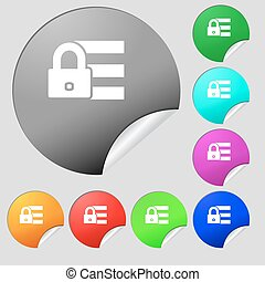 Lock, login icon sign. Set of eight multi colored round buttons, stickers. Vector
