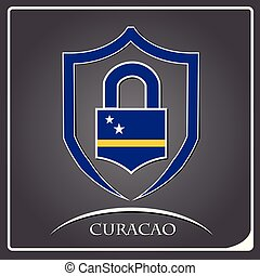 lock logo made from the flag of Curacao