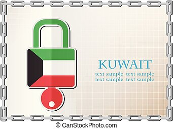 lock logo made from the flag of Kuwait