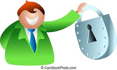 lock man - happy business man holding a padlock - icon...
