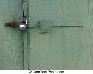 Lock of an Old Green Door