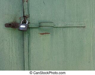 Lock of an Old Green Door