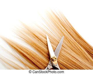 scissors - lock of hair and scissors