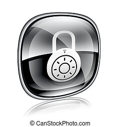 Lock off, icon black glass, isolated on white background.