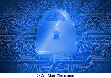 Lock on blue circuit background - Digitally generated lock...