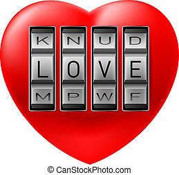 Lock on heart - Illustration of combination lock on heart on...