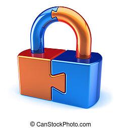 lock padlock puzzle orange blue closed