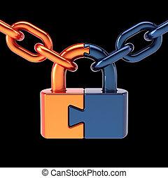 Lock padlock security data chain safeguard. Puzzle link closed secret