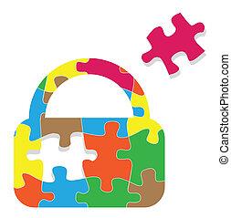 Lock padlock security safeguard puzzle vector background