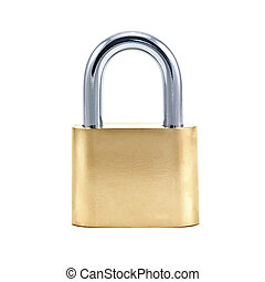 lock - gold lock isolated on white