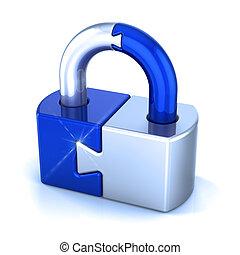 Lock puzzle padlock security icon concept