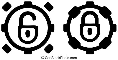 Lock Ring Button Icon Stencil