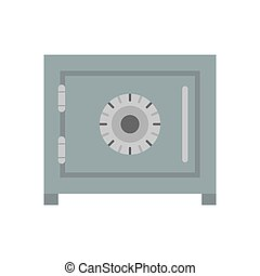 Lock safe protection security metal business door box icon. Safety finance safe steel deposit lock vector illustration isolated. Closed vault banking wealth money storage box. Cash container deposit
