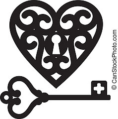 heart and skeleton key - lock shaped heart and skeleton key
