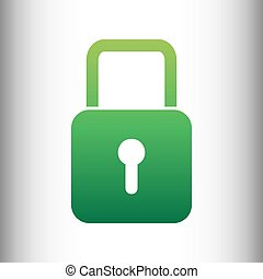 Lock sign. Green gradient icon