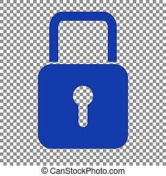 Lock sign illustration. Blue icon on transparent background.