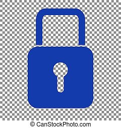 Lock sign illustration. Blue icon on transparent background.