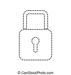 Lock sign illustration. Vector. Black dashed icon on white background. Isolated.