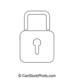 Lock sign illustration. Vector. Black dotted icon on white background. Isolated.