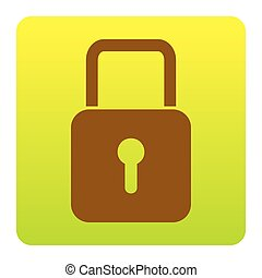 Lock sign illustration. Vector. Brown icon at green-yellow gradient square with rounded corners on white background. Isolated.