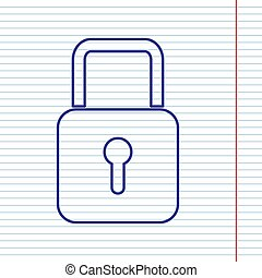 Lock sign illustration. Vector. Navy line icon on notebook paper as background with red line for field.
