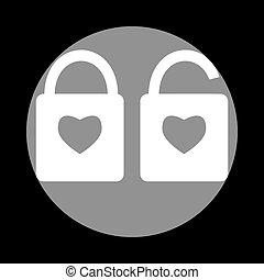 lock sign with heart shape. A simple silhouette of the lock.
