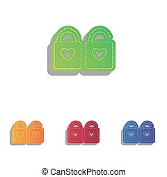 lock sign with heart shape. A simple silhouette of the lock. Shape of a heart. Colorfull applique icons set.