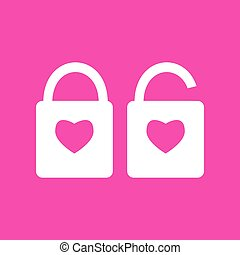 lock sign with heart shape. A simple silhouette of the lock. Shape of a heart. White icon at magenta background.