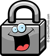 Lock Smiling - A cartoon metal lock happy and smiling.