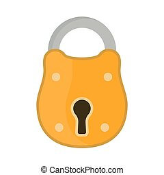 Lock steel protect icon vector. House vintage private padlock element entrance