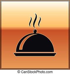 lock, sticklingshus, lid., guld, restaurang, mat bricka, skylt., isolerat, illustration, symbol., bakgrund., vektor, svart, höjande, köksutrustning, ikon