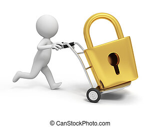 lock - A 3d person pushing a cart/ a lock in the cart