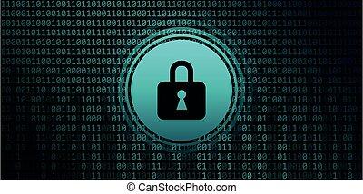 lock symbol on binary code background digital data