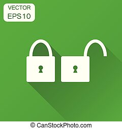 Lock unlock icon. Business concept locker security pictogram. Vector illustration on green background with long shadow.