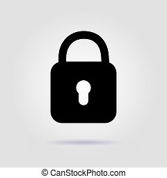 Lock vector icon on gray background with soft shadow