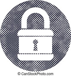 Lock vector icon with pixel print halftone dots texture.