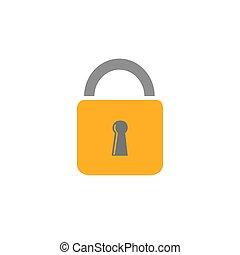 Lock vector illustration icon in flat style